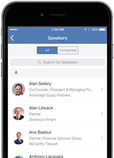 PitchBook Mobile: view event speakers