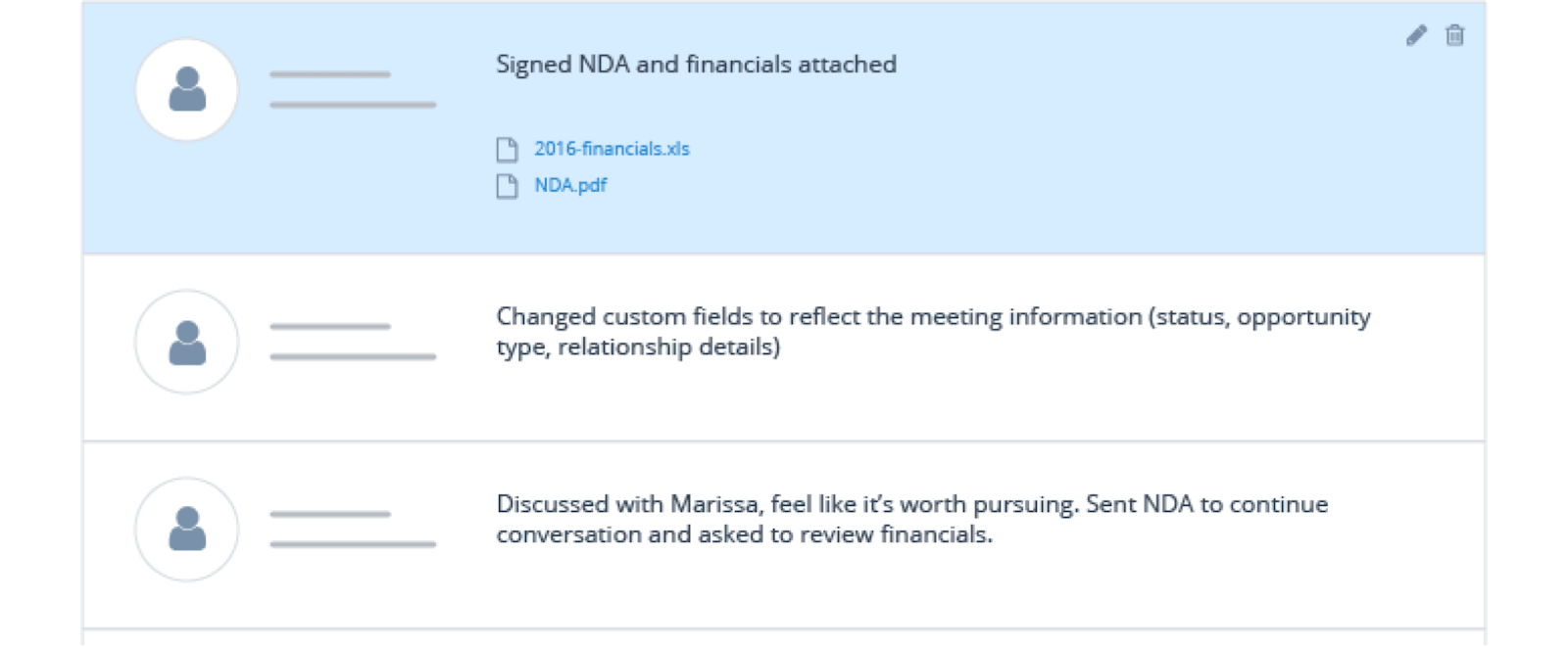 Securely store your notes and files—from pitch decks to contracts